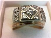 Gent's Diamond Cluster Ring 11 Diamonds .86 Carat T.W. 14K Yellow Gold 8.4g